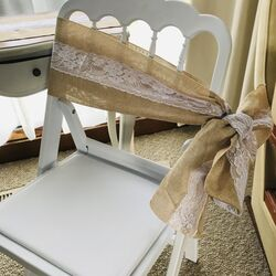 Burlap/Hessian Chair Sashes with Lace
