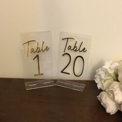 Clear Acrylic Gold Numbers