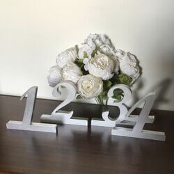 Silver Wooden Numbers