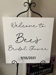 White Acrylic Welcome to Bridal Shower Board