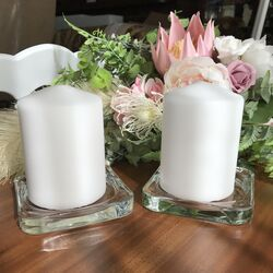 White Pillar Candles 7x 10cm