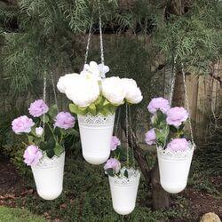 White Tin Hanging Pots